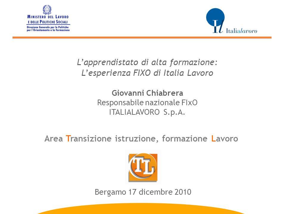 L'apprendistato di alta formazione: L'esperienza FIXO di Italia Lavoro