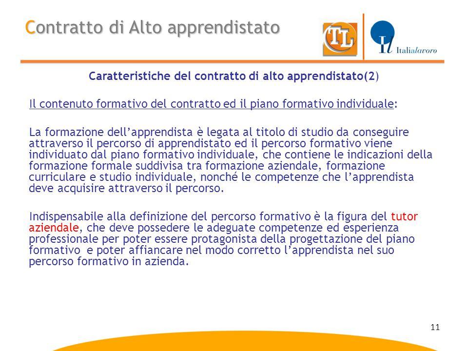 Caratteristiche del contratto di alto apprendistato(2)