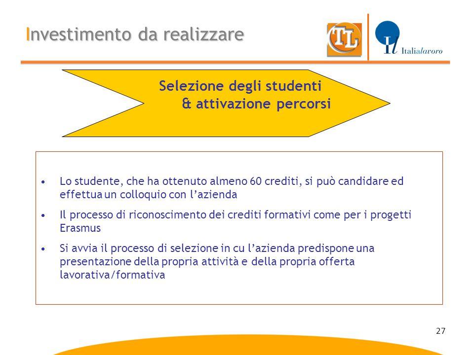 Selezione degli studenti & attivazione percorsi
