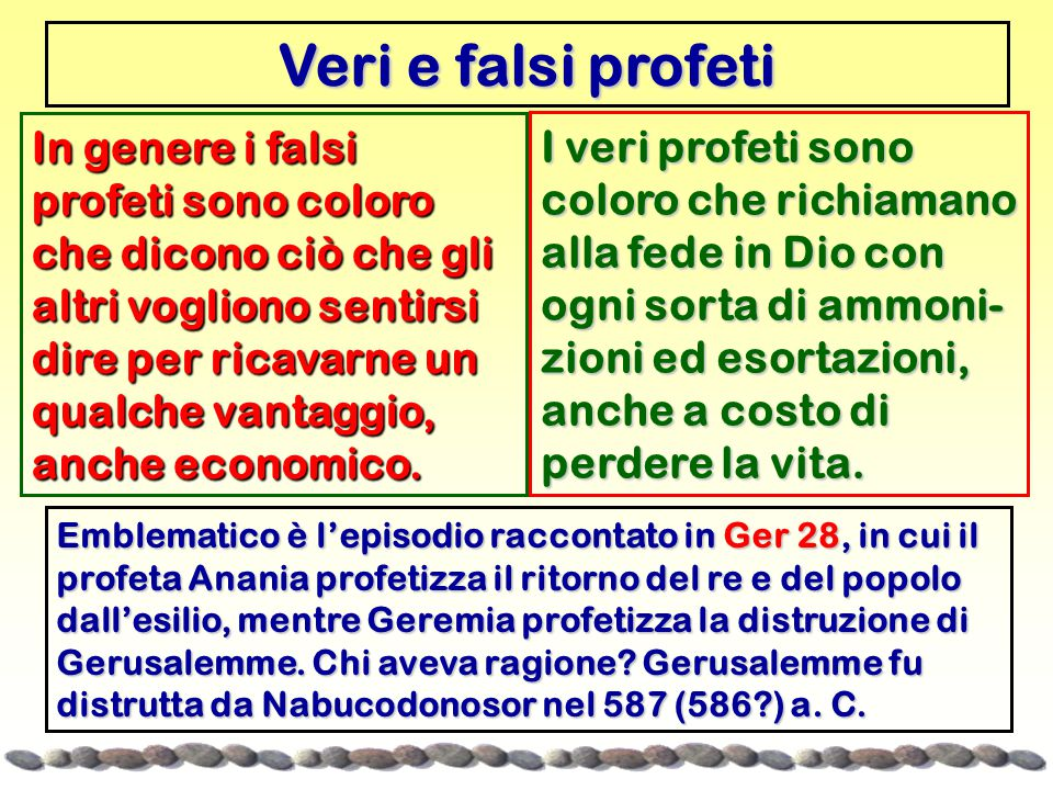 Veri e falsi profeti