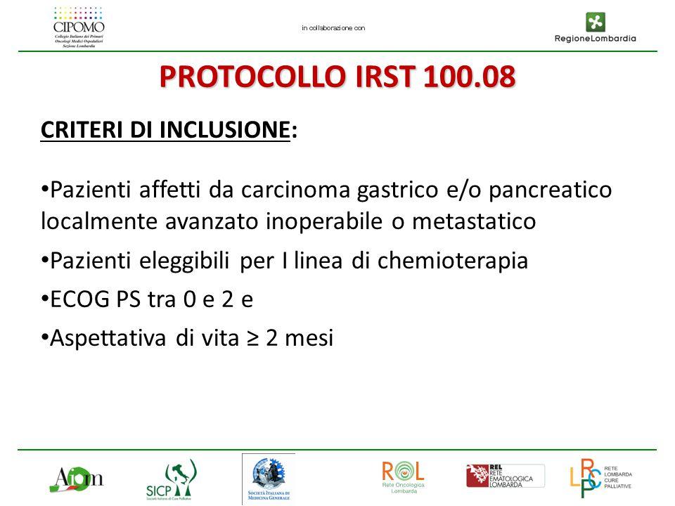 PROTOCOLLO IRST 100.08 CRITERI DI INCLUSIONE: