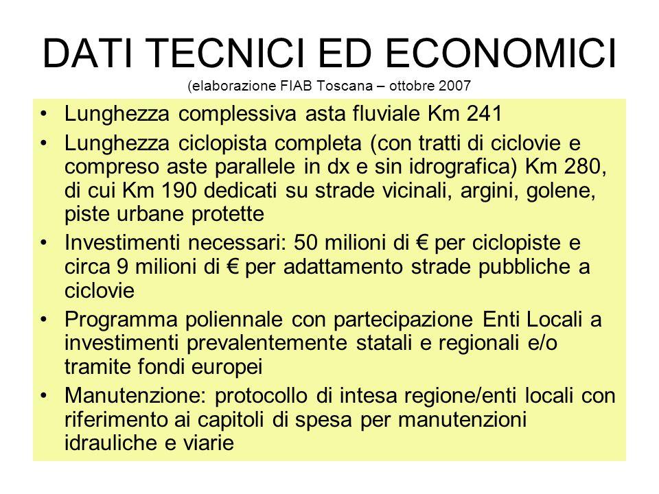 DATI TECNICI ED ECONOMICI (elaborazione FIAB Toscana – ottobre 2007