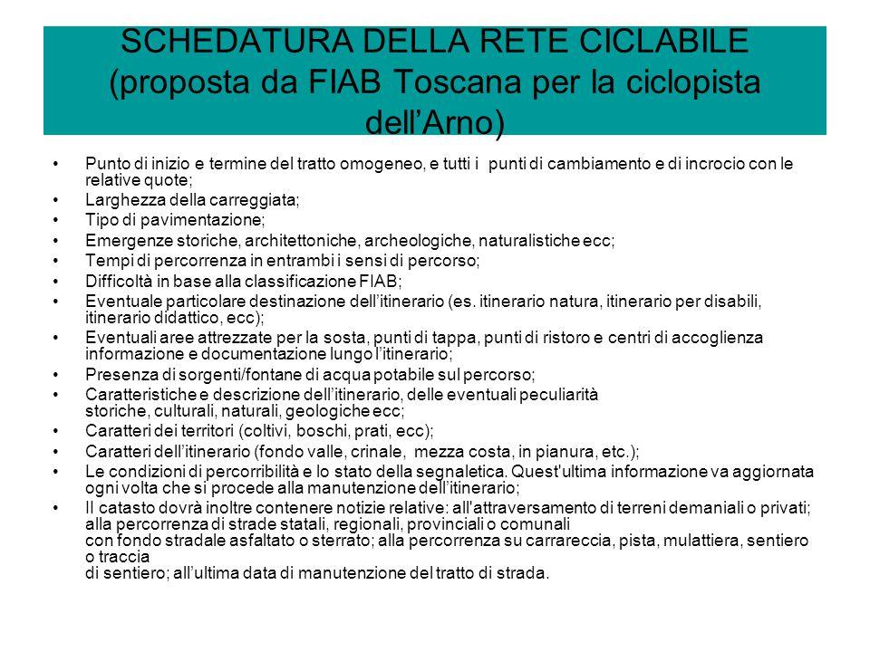 SCHEDATURA DELLA RETE CICLABILE (proposta da FIAB Toscana per la ciclopista dell'Arno)