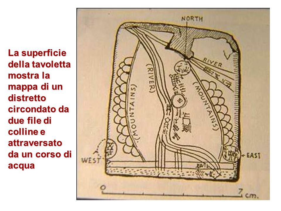 La superficie della tavoletta mostra la mappa di un distretto circondato da due file di colline e attraversato da un corso di acqua