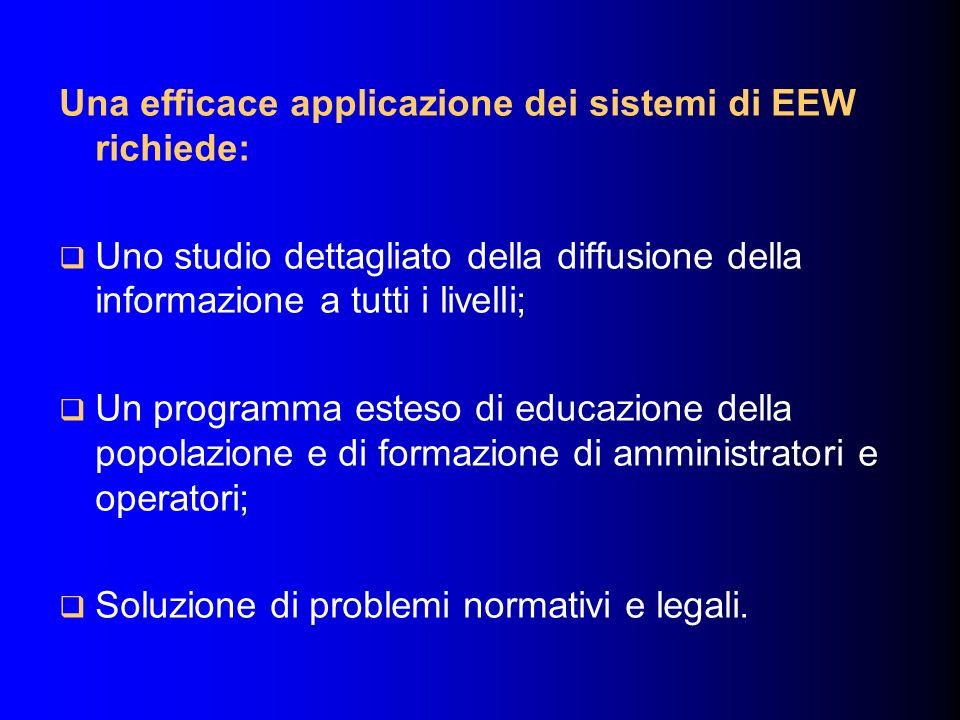 Una efficace applicazione dei sistemi di EEW richiede: