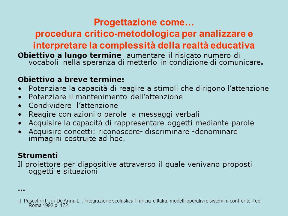 Progettazione come… procedura critico-metodologica per analizzare e interpretare la complessità della realtà educativa