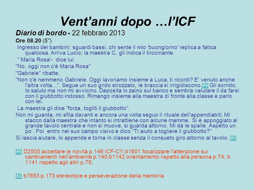Vent'anni dopo …l'ICF Diario di bordo - 22 febbraio 2013