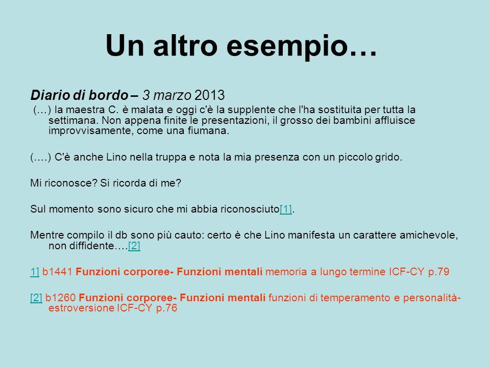 Un altro esempio… Diario di bordo – 3 marzo 2013