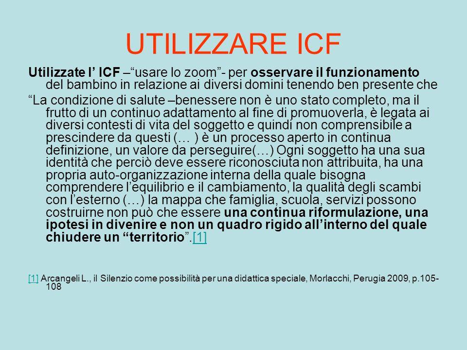 UTILIZZARE ICF Utilizzate l' ICF – usare lo zoom - per osservare il funzionamento del bambino in relazione ai diversi domini tenendo ben presente che.