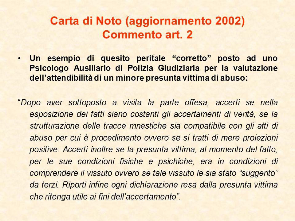 Carta di Noto (aggiornamento 2002) Commento art. 2