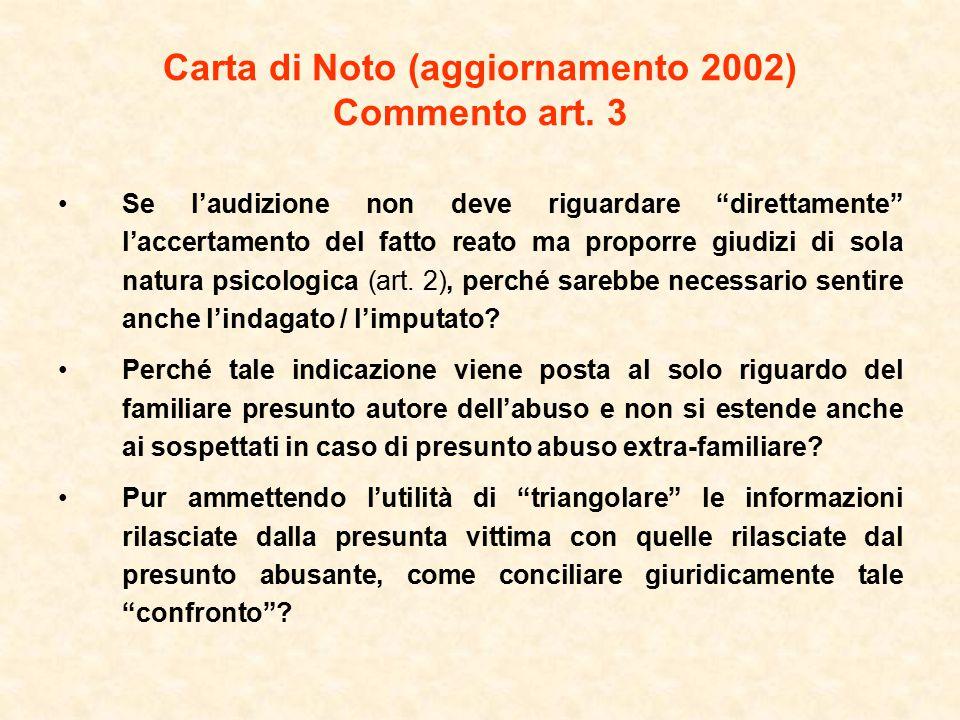 Carta di Noto (aggiornamento 2002) Commento art. 3