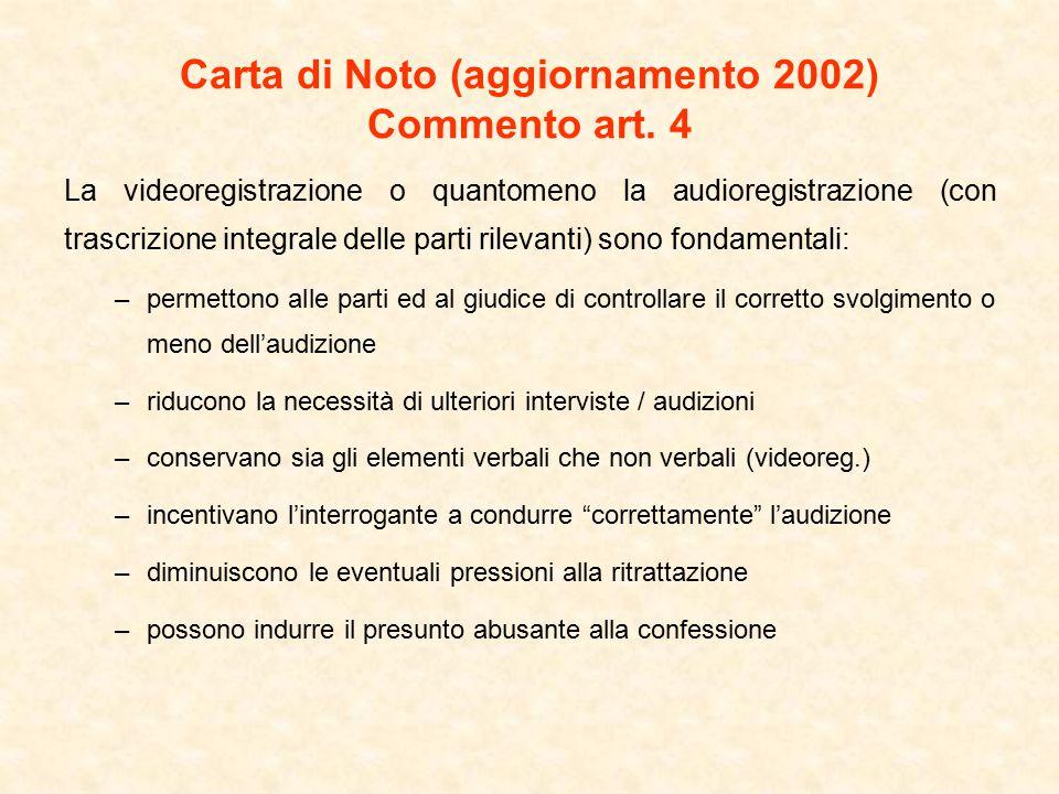 Carta di Noto (aggiornamento 2002) Commento art. 4