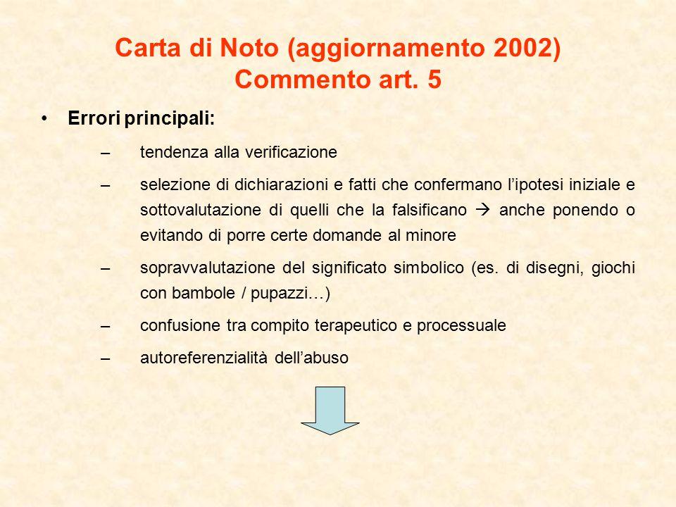 Carta di Noto (aggiornamento 2002) Commento art. 5