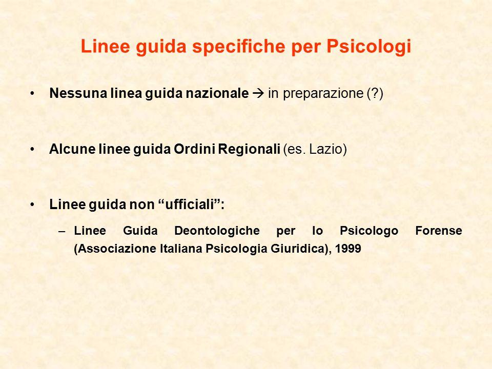 Linee guida specifiche per Psicologi