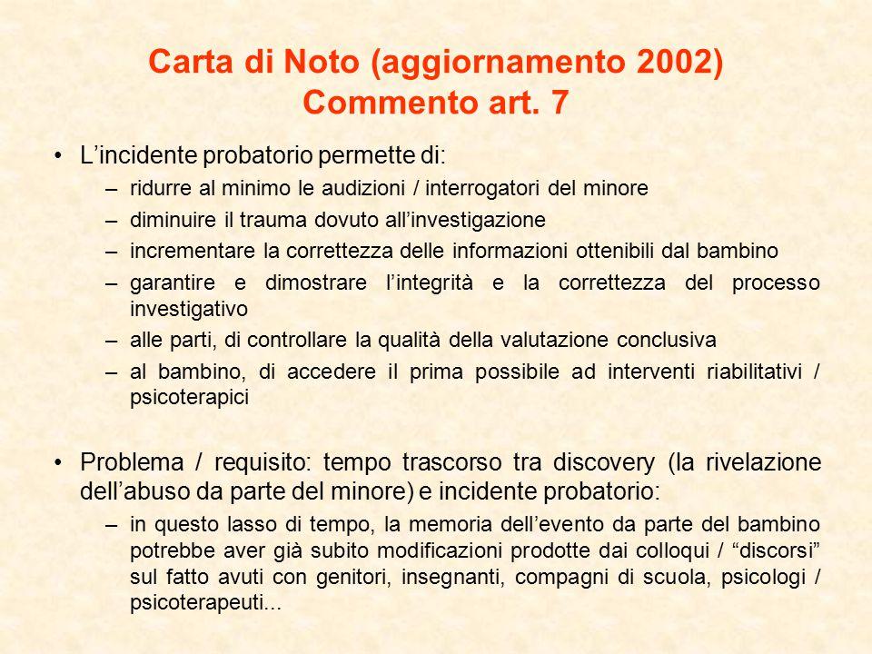 Carta di Noto (aggiornamento 2002) Commento art. 7