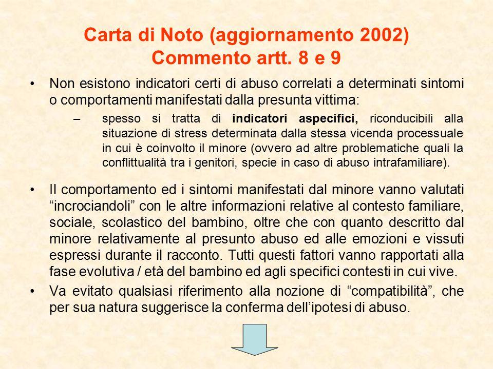 Carta di Noto (aggiornamento 2002) Commento artt. 8 e 9