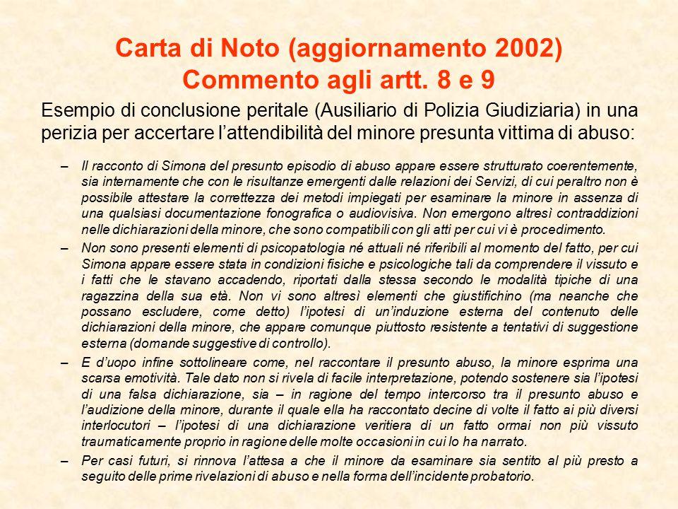 Carta di Noto (aggiornamento 2002) Commento agli artt. 8 e 9