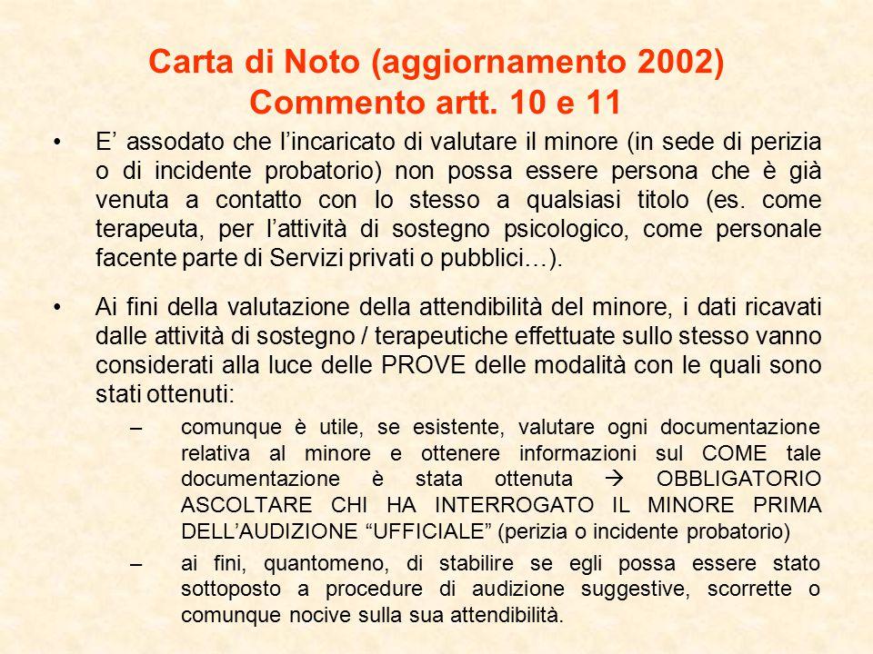 Carta di Noto (aggiornamento 2002) Commento artt. 10 e 11