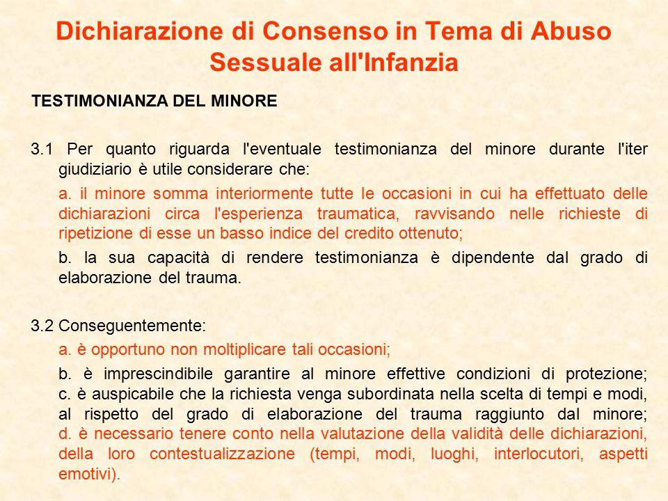 Dichiarazione di Consenso in Tema di Abuso Sessuale all Infanzia