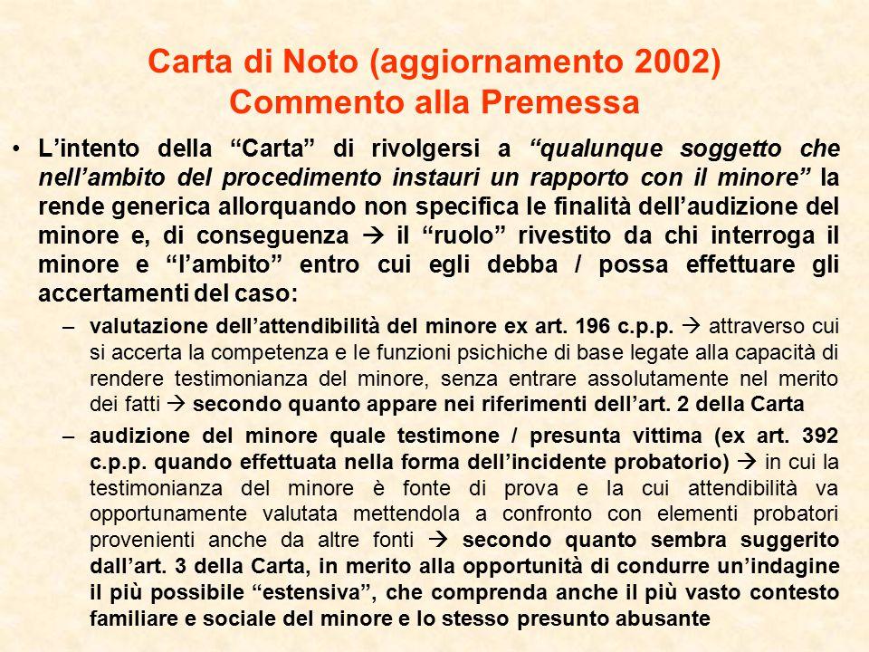 Carta di Noto (aggiornamento 2002) Commento alla Premessa