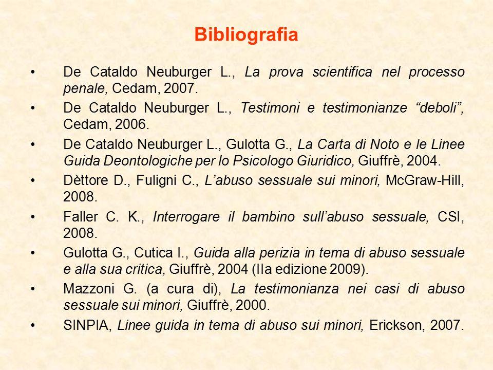 Bibliografia De Cataldo Neuburger L., La prova scientifica nel processo penale, Cedam, 2007.