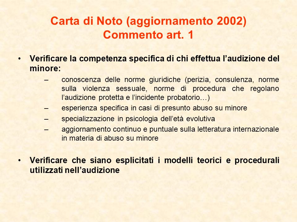 Carta di Noto (aggiornamento 2002) Commento art. 1
