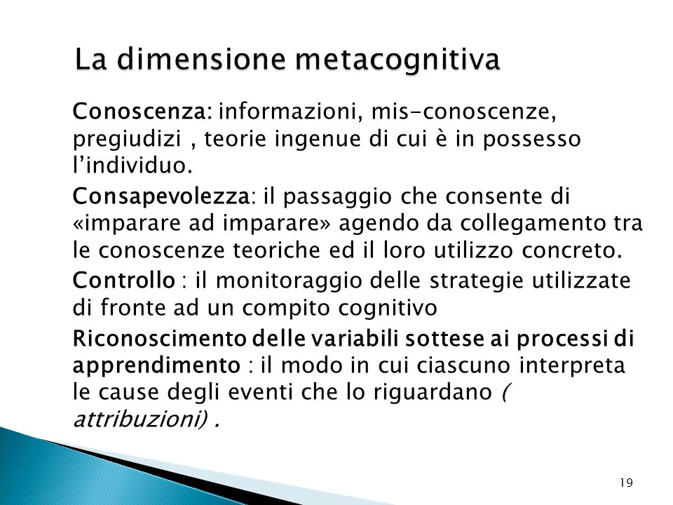 La dimensione metacognitiva