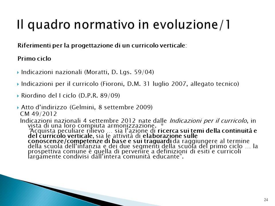 Il quadro normativo in evoluzione/1