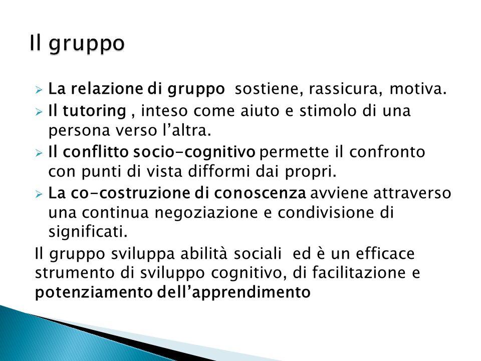 Il gruppo La relazione di gruppo sostiene, rassicura, motiva.