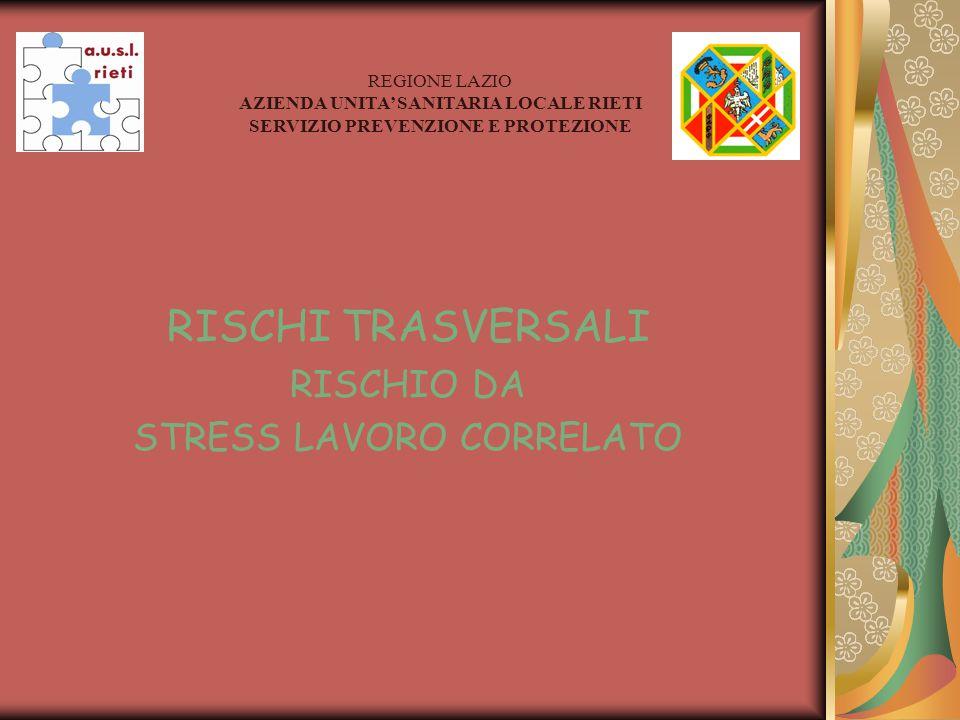 RISCHI TRASVERSALI RISCHIO DA STRESS LAVORO CORRELATO