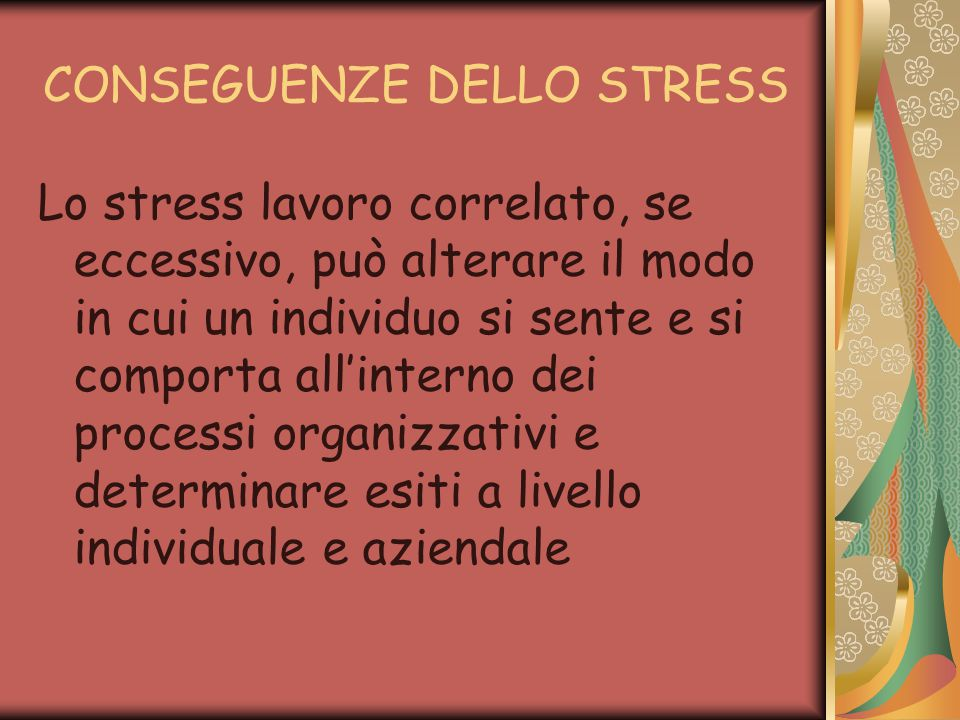 CONSEGUENZE DELLO STRESS