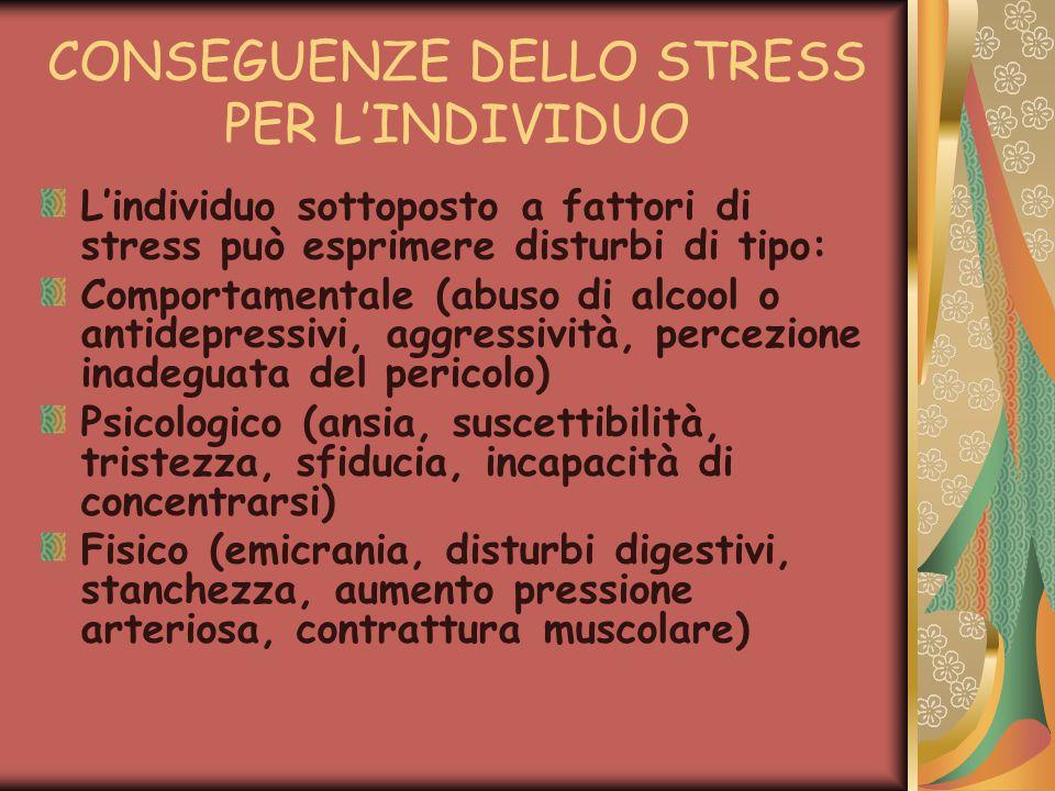 CONSEGUENZE DELLO STRESS PER L'INDIVIDUO