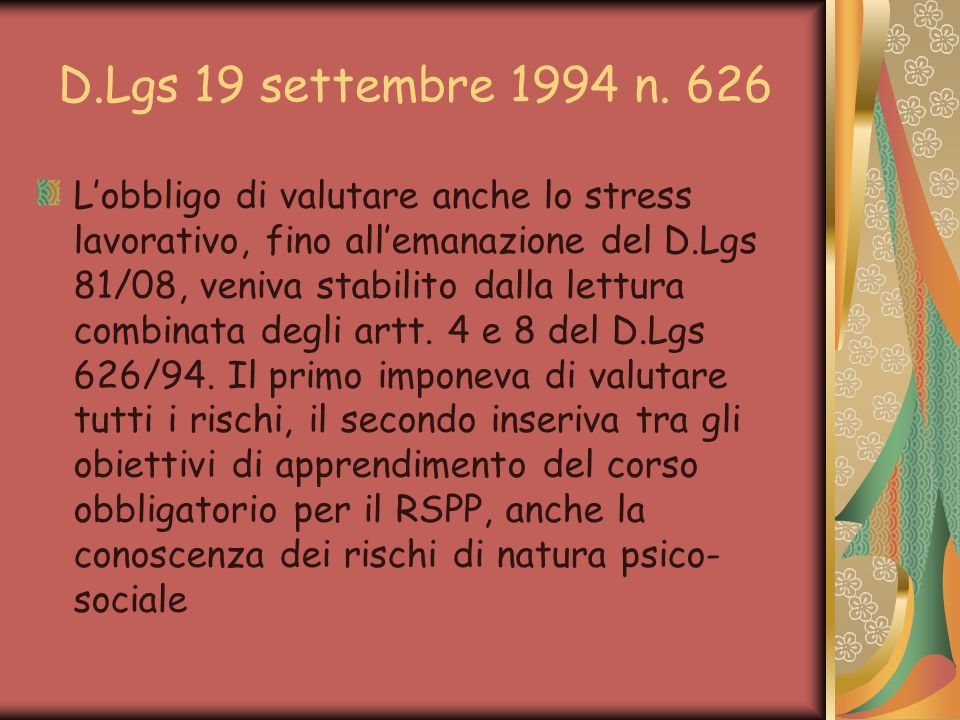 D.Lgs 19 settembre 1994 n. 626