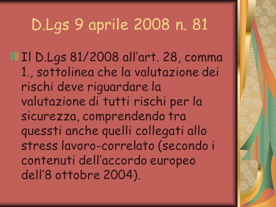D.Lgs 9 aprile 2008 n. 81