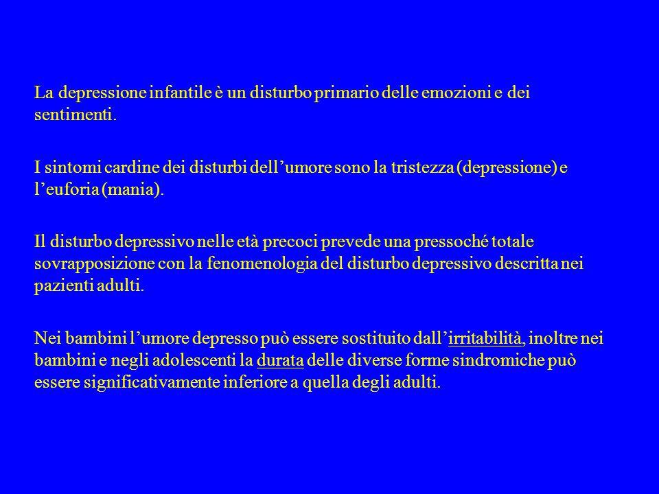 La depressione infantile è un disturbo primario delle emozioni e dei sentimenti.