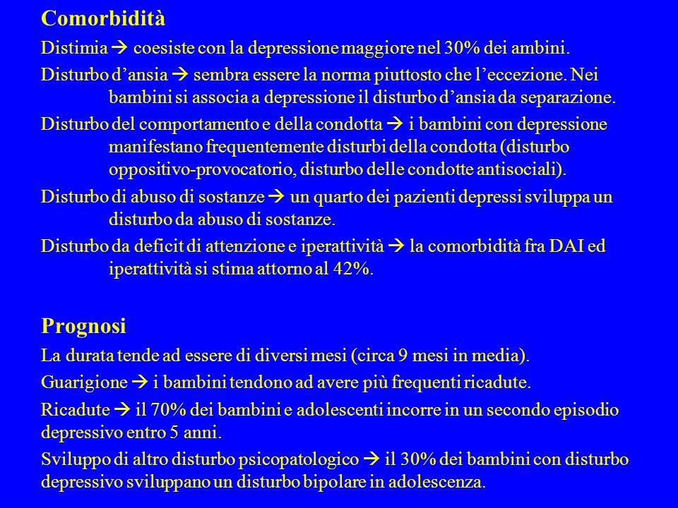 Comorbidità Distimia  coesiste con la depressione maggiore nel 30% dei ambini.