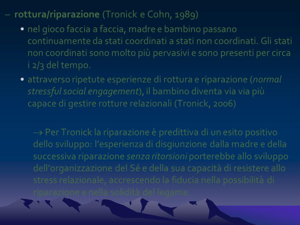 rottura/riparazione (Tronick e Cohn, 1989)