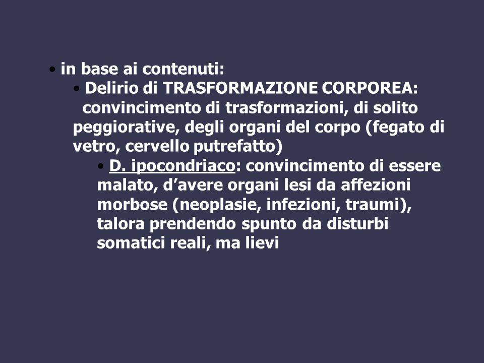 in base ai contenuti: Delirio di TRASFORMAZIONE CORPOREA: