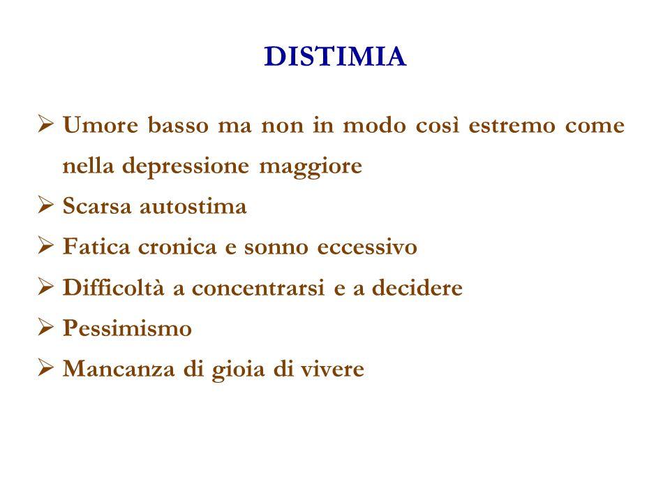 DISTIMIA Umore basso ma non in modo così estremo come nella depressione maggiore. Scarsa autostima.
