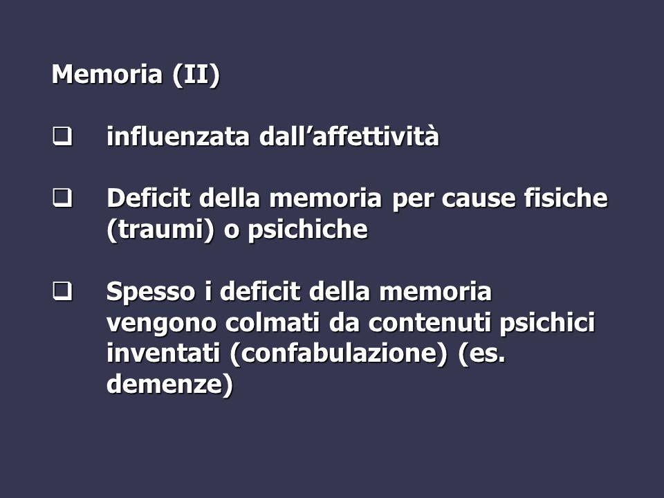 Memoria (II) influenzata dall'affettività. Deficit della memoria per cause fisiche (traumi) o psichiche.