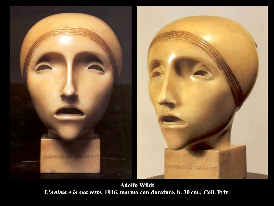 Adolfo Wildt L'Anima e la sua veste, 1916, marmo con dorature, h. 30 cm., Coll. Priv.