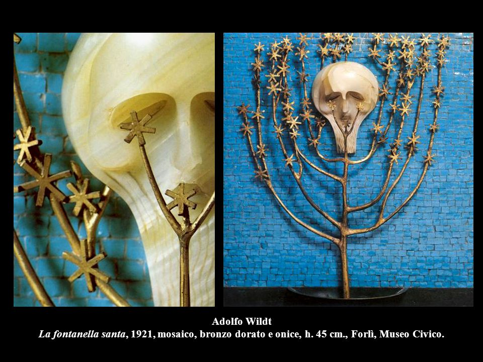 Adolfo Wildt La fontanella santa, 1921, mosaico, bronzo dorato e onice, h.