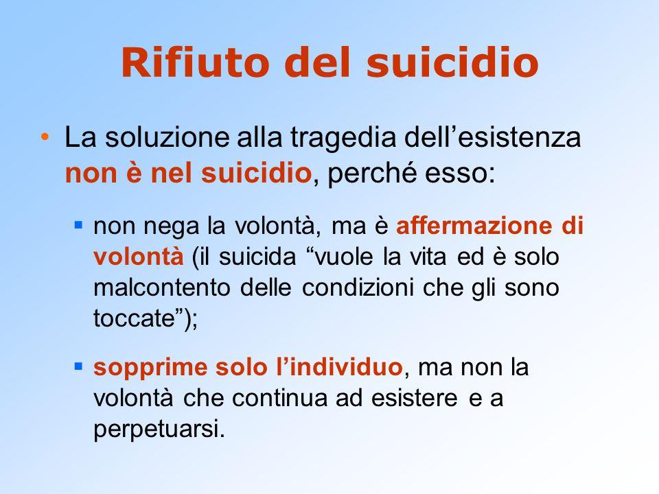 Rifiuto del suicidio La soluzione alla tragedia dell'esistenza non è nel suicidio, perché esso:
