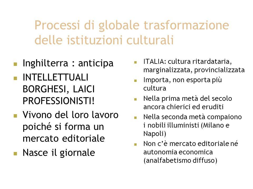 Processi di globale trasformazione delle istituzioni culturali