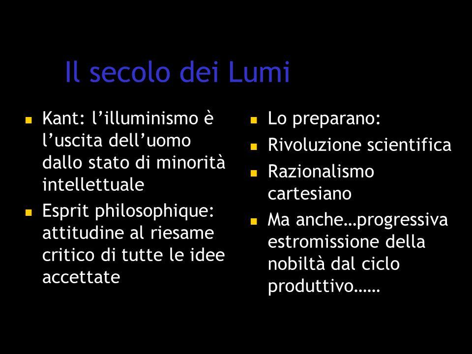 Il secolo dei Lumi Kant: l'illuminismo è l'uscita dell'uomo dallo stato di minorità intellettuale.