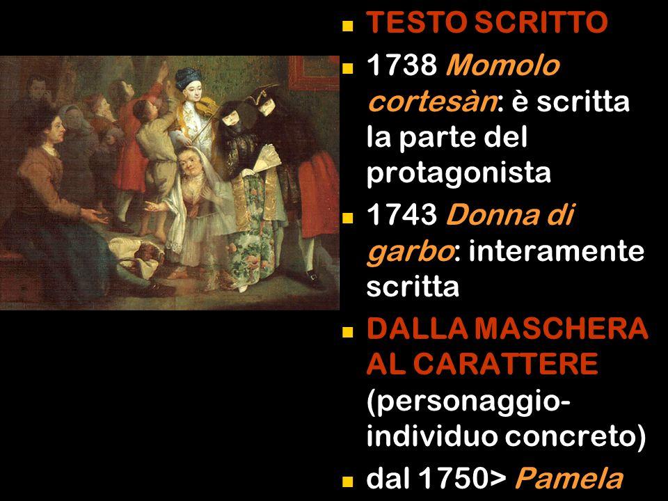 TESTO SCRITTO 1738 Momolo cortesàn: è scritta la parte del protagonista. 1743 Donna di garbo: interamente scritta.