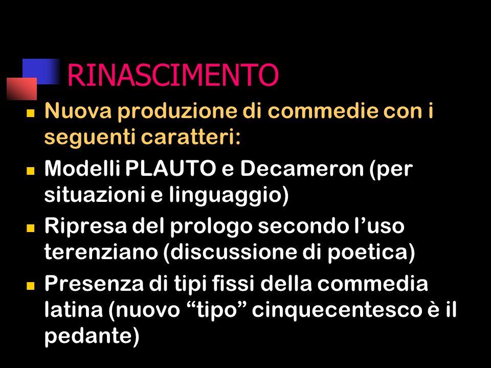 RINASCIMENTO Nuova produzione di commedie con i seguenti caratteri: