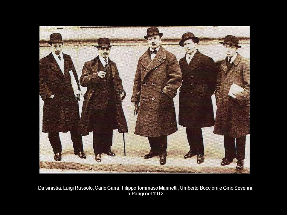 Da sinistra: Luigi Russolo, Carlo Carrà, Filippo Tommaso Marinetti, Umberto Boccioni e Gino Severini,