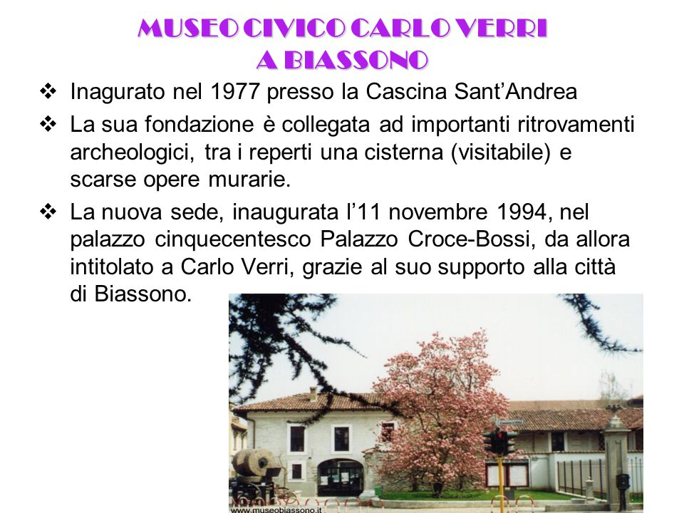 MUSEO CIVICO CARLO VERRI A BIASSONO