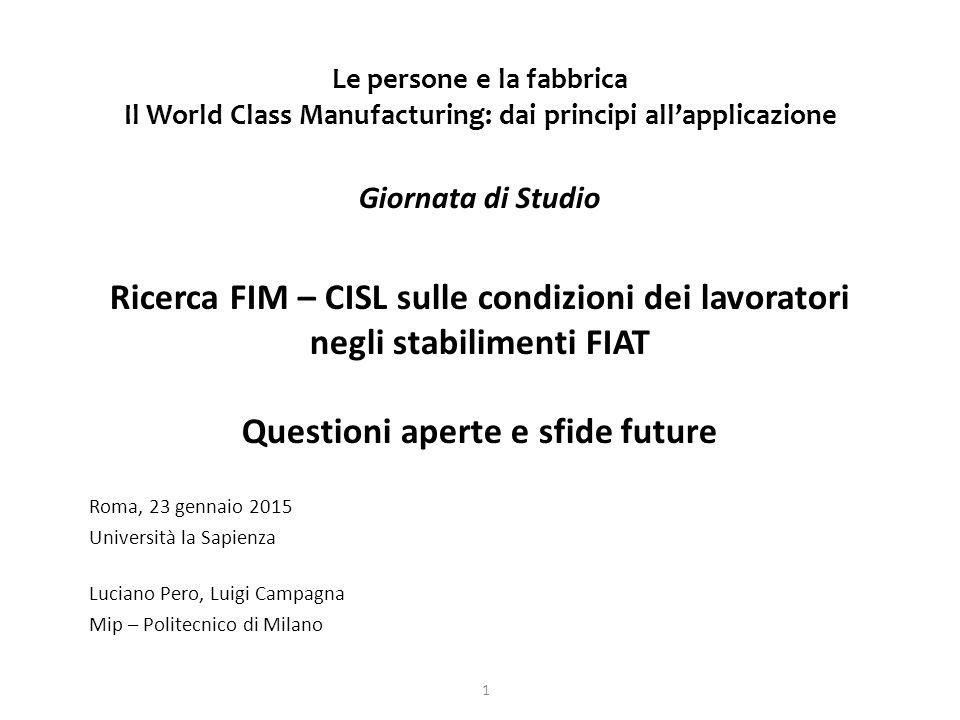 Le persone e la fabbrica Il World Class Manufacturing: dai principi all'applicazione Giornata di Studio Ricerca FIM – CISL sulle condizioni dei lavoratori negli stabilimenti FIAT Questioni aperte e sfide future